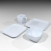 Revit Family-Square Dish Set